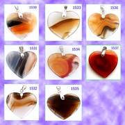 Heart-Shaped Agate Stone Pendants