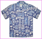 Tapa Design Inverted Hawaiian Shirt - 510Navy