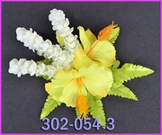 Hibiscus w/Pikake Loops  Hair Clip - Yellow/Ivory