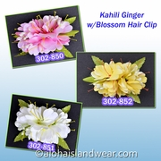 Kahili Ginger w/Blossom & fern Hair Clip