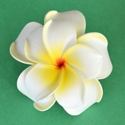 Large Double Plumeria Foam Hair Clip - White/Yellow