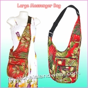 Large Hawaiian Print Messenger bag - 503Red