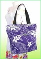 Large Hawaiian Print Tote Bag w/Top Zipper - 802Purple