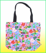 Large Hawaiian Print Tote Bag w/Top Zipper - 313Purple