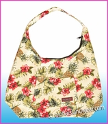 Large Hawaiian Print Hobo Bag w/Top Zipper - 173ream