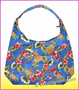 Large Hawaiian Print  Hobo Bag w/Top Zipper - 172Navy
