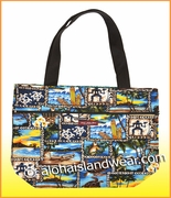 Large Reversible Hawaiian Print Tote Bag - 201Blue