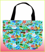 Large Reversible Hawaiian Print Tote Bag - 312Aqua