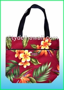 Medium Reversible Hawaiian Print Tote Bag - 105Burgundy