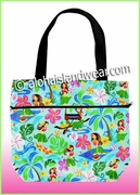 Medium Reversible Hawaiian print Tote Bag -312Aqua