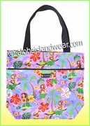 Medium Reversible Hawaiian print Tote Bag -313Purple
