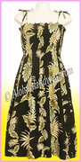 Mid-Length Hawaiian Smock Dress - 438Black