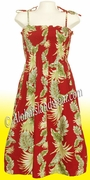 Mid-Length Hawaiian Smock Dress - 438Red