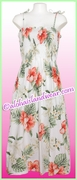 Mid-Length Hawaiian Smock Dress - 466White