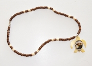 Mother of Pearl shell Sea Turtle w/ wood buttons Necklace