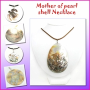 Mother of Pearl Shell w/Genuine Leather Necklace