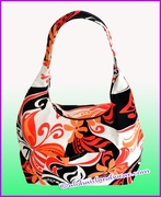 Large Hawaiian Print  Hobo Bag w/Top Zipper - 134range