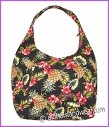 Large Hawaiian Print  Hobo Bag w/Top Zipper - 171Black