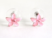 Small Enamel Plumeria Stud Earrings - Pink