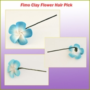 Plumeria Fimo Hair Pick - Blue