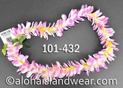 Plumeria Royal Single Lei - Cherry Pink/Yellow