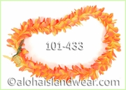 Plumeria Royal Single Lei - Golden Orange