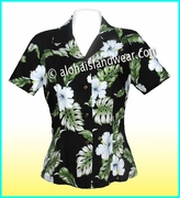 Rayon Hawaiian Lady Blouse - 807Black