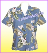 Rayon Hawaiian Lady Blouse - 812Blue