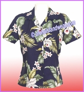 Rayon Hawaiian Lady Blouse - 812Navy