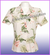 Rayon Hawaiian Lady Blouse - 812White/Pink flowers