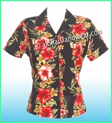 Rayon Hawaiian Lady Blouse - 819Black