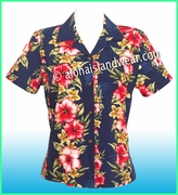Rayon Hawaiian Lady Blouse - 819Navy