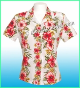 Rayon Hawaiian Lady Blouse - 819White