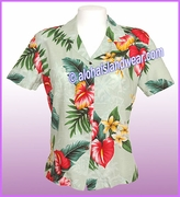 Rayon Hawaiian Lady Blouse - 821Green