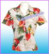 Rayon Hawaiian Lady Blouse - 821White