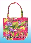 Reusable Hawaiian Print Grocery Tote Bag -121Pink