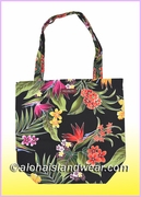 Reusable Hawaiian Print Grocery Tote Bag -122Black