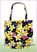 Reusable Hawaiian Print Grocery Tote Bag -302Black