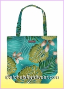 Reusable Hawaiian Print Grocery Tote Bag -501Teal