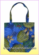 Reusable Hawaiian Print Grocery Tote Bag -502Navy