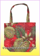 Reusable Hawaiian Print Grocery Tote Bag -503Red