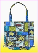 Reusable Hawaiian Print Grocery Tote Bag -701Blue
