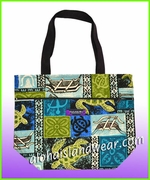 Small Hawaiian Print Reversible Tote Bag -701Blue