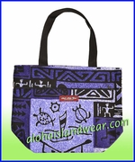 Small Hawaiian Print Reversible Tote Bag - 261Purple