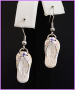 Solid Silver Aloha Slippers Earrings