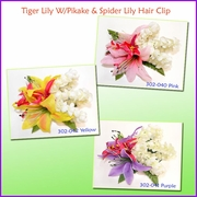 Tiger Lily W/Pikake & Spider lily Hair Clip