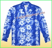 Tropical Floral Panel Long Sleeves Hawaiian Shirt - 4340Navy