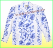 Tropical Floral Panel Long Sleeves Hawaiian Shirt - 4340White