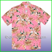 White Orchid Hawaiian Rayon Shirt - 824Pink