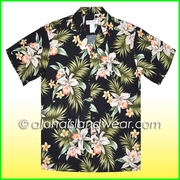 White Orchid Hawaiian Rayon Shirt - 824Black